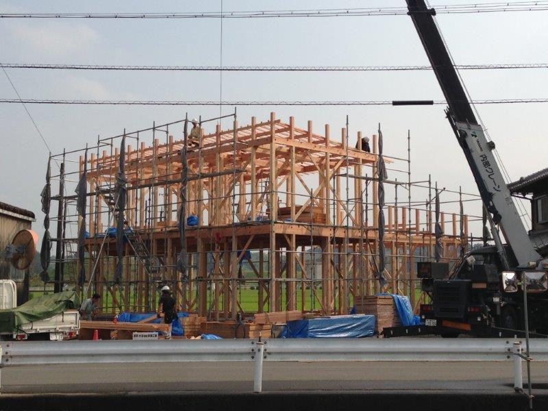 建て方完了時には構造見学会!